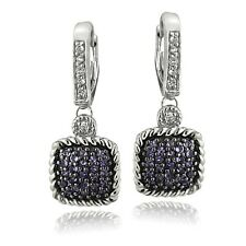 925 Silver 1.2ct Amethyst & White Topaz Square Rope Leverback Earrings