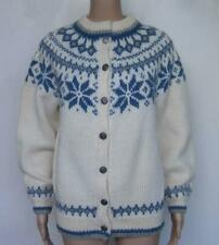 Dale of Norway Vtg Cardigan Sweater S 40 Fair Isle Snowflake Nordic Thick Warm