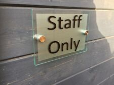 STAFF ONLY MODERN GLASS ACRYLIC BUSINESS PLAQUE / HOUSE NAME / ADD YOUR TEXT!