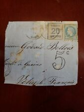 France Alsace & Lorraine SC N6 on Partial Cover with Napoleon 1874