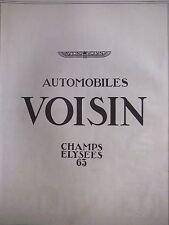 PUBLICITÉ 1925 AVIONS VOISIN AUTOMOBILES VOISIN CHAMPS ELYSÉES 63 - ADVERTISING
