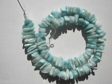 "Natural A+ Larimar tumbled chip Beads - 7x8-10x2.5-5mm - 14.5"" Str"
