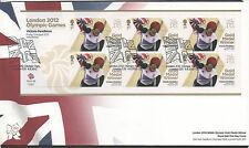GB 2012 Official FDC Olympics Sheetlet 3rd aug Victoria Pendleton 6 stamps