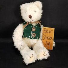 Russ Berrie Tan Plush Stuffed Animal Teddy Bear Green Vest Bear Stories Sign