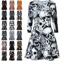 New Ladies Sipder Bat Web Smock Print Flare Halloween Swing Dress Fancy Mini Top