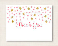 Twinkle Star Pink & Gold Thank You Card Printable