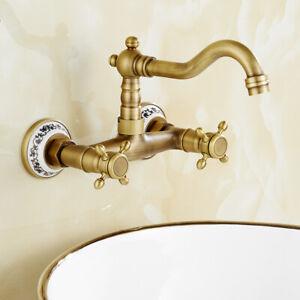 Wall Mounted Kitchen Sink Mixer Taps Swivel Spout Dual Cross Handles //