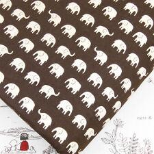 Cotton Fabric FQ White Elephant on Dark Brown Japanese Quilting Luckyfabrics J72