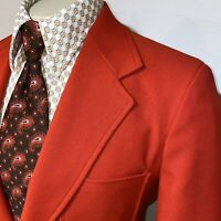 NEW Vtg 70s Red Blazer Suit Jacket Sport Coat AIRCRAFT disco Polyester MENS 39 S