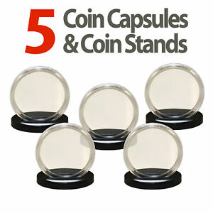 5 Coin Capsules & 5 Coin Stands for MORGAN / PEACE / IKE DOLLARS Airtight 38mm