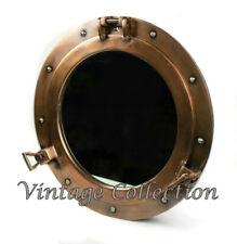 "15"" Antique Brass Porthole Windows Maritime Nautical Ship Mirror Wall Decor"