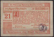 [20262] - GOLD-NOTGELD EINBECK, Sparkasse, 21 Pfennig Reichs-Goldanleihe, 10.11.