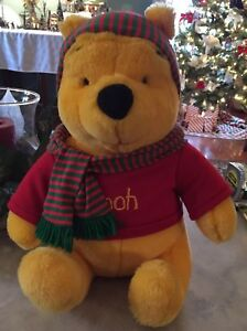 "Vintage Winnie The Pooh Red & Green Christmas Sweater 14"" Disney Mattel Arcotoys"