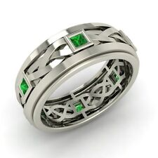 Princess Cut Emerald Men's Band / Ring In Solid 14k White Gold-6.5 mm width