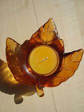"""Teelichthalter Ahornblatt Glas Orange Herbst Windlicht Halloween """"wie neu"""""""