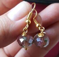 "Mauve Purple Italian Murano Faceted Glass Drop Dangle Gold Earrings 1"""
