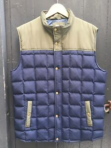 Mens Navy and Khaki Sleeveless Puffer Vest by Marine Layer. Down Feather. Sz L