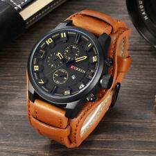 CURREN Men's Top Army Military Watch Quartz Leather Strap Round Sports Watches