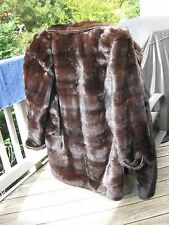 Vintage Genuine Mink Dark Brown Mahogany  Fur Coat Large L