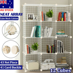 6 to 12 Cube DIY Wire Storage Shelves Cabinet Metal Toy Book Display Shelf Unit