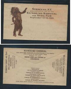 US   Syracuse , NY  Ka-noo-no  Karnival and Fair  1909 great ad cover unused