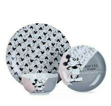 Reduced Disney Mickey & Minnie Mouse Bowl Dinner Set 12 Piece pink grey