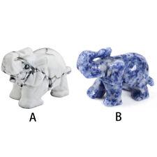 Hand Carved Elephant Crystal Quartz Jade Fortune Lucky Stone Gemstone Gift 3.8cm