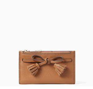 Kate Spade Hayes Small Bifold Leather Wallet GingerBread Brown Bow Tassel New