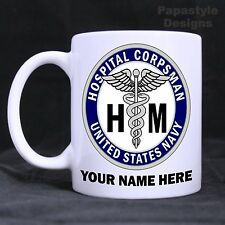 US Navy Hospital Corpsman Personalized 11oz Coffee Mugs Made in the USA.