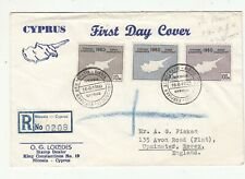 CYPRUS 1960 REGISTERED FIRST DAY COVER TO ENGLAND.