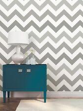 Wallpops Contemporary Chevron Zig Zag Grey White Peel and Stick NU Wallpaper Diy