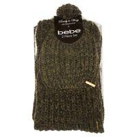 BEBE 2-piece Knit Scarf & Pom Pom Hat Set w/ Gift Box Olive & Black NEW BU41818