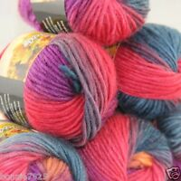 NEW Lot of 6 x50g balls Chunky Hand Coarse Knitting Rainbows Wool Quick Yarn 801