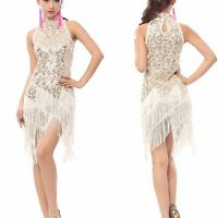 1920's Flapper Party Clubwear Gatsby Sequin & Fringe Tassel Black Gold Dress UK