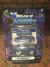 1/64 1996 Impala Chase Car Muscle Machines Blown/supercharged In Blue