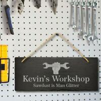 Large Personalised Name Hanging Slate Sign Engraved Plaque Workshop Shed Garage