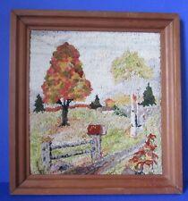 Beautiful Punch Needle Framed Autumn Scene