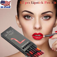 12PCS Waterproof Pencil Lipstick Pen Lip Liner Long Lasting Matte Makeup Set USA