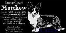Personalized Cardigan Welsh Corgi Dog Pet Memorial 12x6 Headstone Grave Marker