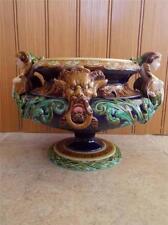 Magnificent SARREGUEMINES Majolica Art Pottery Antique Punchbowl Centrepiece