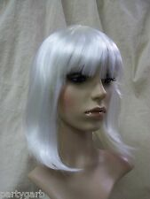 White Glam Wig w/ bangs Go Go Girl Fun Rave Party Girl Mrs Claus Christmas Angel