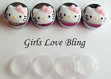 HELLO KITTY PINK BOW License Plate Frame Screw Covers - Chrome Caps