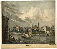 View of Cairo, hand colored lithography from ca 1820.