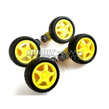 4 x Arduino Smart Car Robot Wheel DC 3V-6V Drive Gear Motor with tire