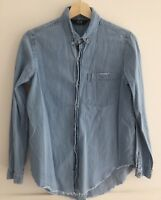 NEUW Blue Chambray Denim Raw Hem Button Down Long Sleeve Shirt Size XS/6