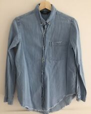 NEUW Blue Chambray Denim Raw Hem Button Down Long Sleeve Shirt Size XS/6