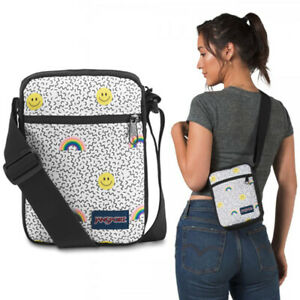 New Jansport Black Weekender with Smiles & Rainbows Small Crossbody JS0A3C4G54X
