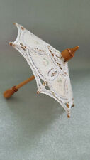 White Wood Battenburg Lace Parasol For American Girl Size Doll & Larger Dolls