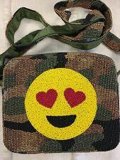 Tiana Beaded Whimsical Handbag Purse, Smiley, Brand New