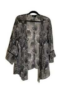 Style & Co Sheer Gray Black floral Dolmen Duster Top Open Front Blouse  M/L